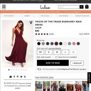 Bergundy Convertible Dress from Lulus